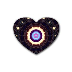 Mandala Art Design Pattern Rubber Coaster (heart)  by BangZart