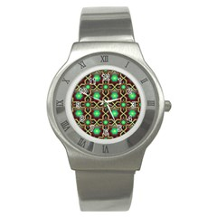 Pattern Background Bright Brown Stainless Steel Watch by BangZart