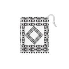 Pattern Background Texture Black Drawstring Pouches (xs)  by BangZart