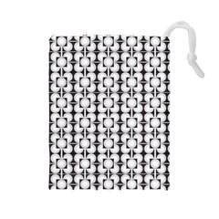 Pattern Background Texture Black Drawstring Pouches (large)  by BangZart