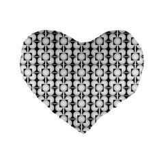 Pattern Background Texture Black Standard 16  Premium Flano Heart Shape Cushions by BangZart