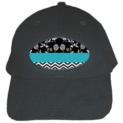 Flowers Turquoise Pattern Floral Black Cap by BangZart