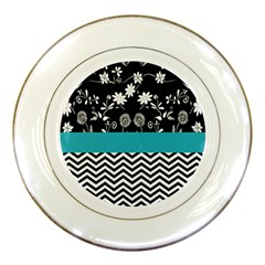 Flowers Turquoise Pattern Floral Porcelain Plates by BangZart