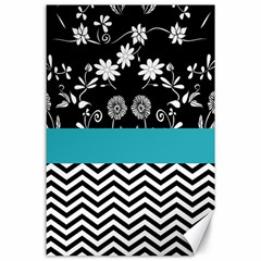 Flowers Turquoise Pattern Floral Canvas 24  X 36  by BangZart