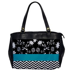 Flowers Turquoise Pattern Floral Office Handbags by BangZart