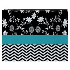 Flowers Turquoise Pattern Floral Cosmetic Bag (xxxl)  by BangZart