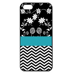 Flowers Turquoise Pattern Floral Apple Iphone 5 Seamless Case (black) by BangZart