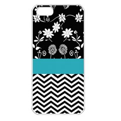 Flowers Turquoise Pattern Floral Apple Iphone 5 Seamless Case (white) by BangZart