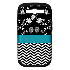 Flowers Turquoise Pattern Floral Samsung Galaxy S Iii Hardshell Case (pc+silicone) by BangZart
