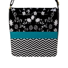 Flowers Turquoise Pattern Floral Flap Messenger Bag (l)  by BangZart
