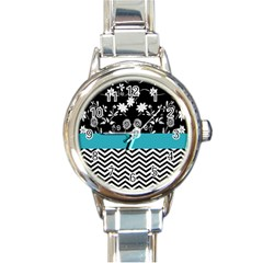 Flowers Turquoise Pattern Floral Round Italian Charm Watch by BangZart