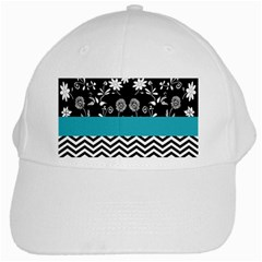 Flowers Turquoise Pattern Floral White Cap by BangZart