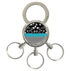 Flowers Turquoise Pattern Floral 3 Ring Key Chains by BangZart