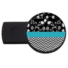 Flowers Turquoise Pattern Floral Usb Flash Drive Round (2 Gb) by BangZart