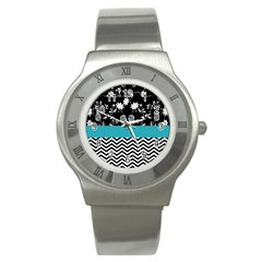 Flowers Turquoise Pattern Floral Stainless Steel Watch by BangZart