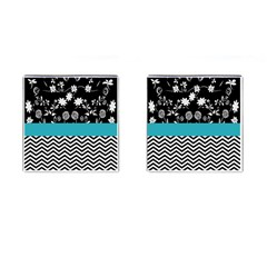 Flowers Turquoise Pattern Floral Cufflinks (square) by BangZart