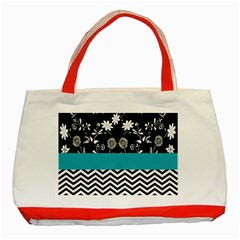 Flowers Turquoise Pattern Floral Classic Tote Bag (red) by BangZart