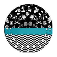 Flowers Turquoise Pattern Floral Ornament (round Filigree) by BangZart