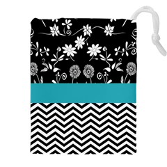 Flowers Turquoise Pattern Floral Drawstring Pouches (xxl) by BangZart