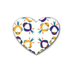 Pattern Circular Birds Rubber Coaster (heart)  by BangZart