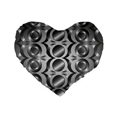 Metal Circle Background Ring Standard 16  Premium Flano Heart Shape Cushions by BangZart