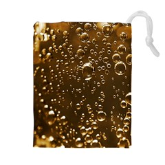 Festive Bubbles Sparkling Wine Champagne Golden Water Drops Drawstring Pouches (extra Large) by yoursparklingshop