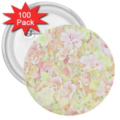 Lovely Floral 36c 3  Buttons (100 Pack)  by MoreColorsinLife