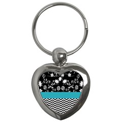 Flowers Turquoise Pattern Floral Key Chains (heart)  by BangZart