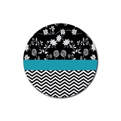 Flowers Turquoise Pattern Floral Rubber Round Coaster (4 Pack)  by BangZart