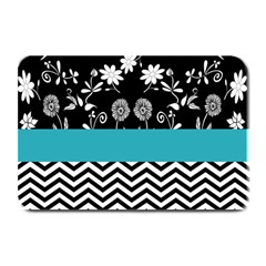 Flowers Turquoise Pattern Floral Plate Mats by BangZart