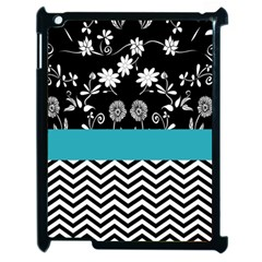 Flowers Turquoise Pattern Floral Apple Ipad 2 Case (black) by BangZart