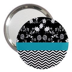 Flowers Turquoise Pattern Floral 3  Handbag Mirrors