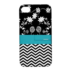 Flowers Turquoise Pattern Floral Apple Iphone 4/4s Hardshell Case With Stand by BangZart