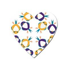 Pattern Circular Birds Heart Magnet by BangZart