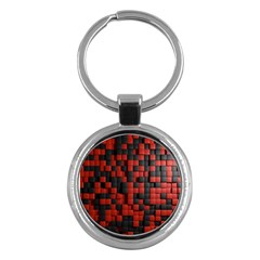 Black Red Tiles Checkerboard Key Chains (round)  by BangZart
