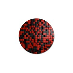 Black Red Tiles Checkerboard Golf Ball Marker (10 Pack) by BangZart
