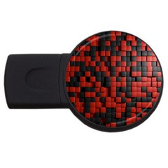 Black Red Tiles Checkerboard Usb Flash Drive Round (2 Gb) by BangZart