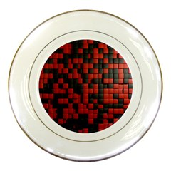 Black Red Tiles Checkerboard Porcelain Plates by BangZart