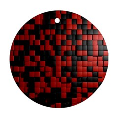 Black Red Tiles Checkerboard Round Ornament (two Sides) by BangZart