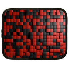 Black Red Tiles Checkerboard Netbook Case (large) by BangZart