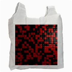 Black Red Tiles Checkerboard Recycle Bag (one Side) by BangZart