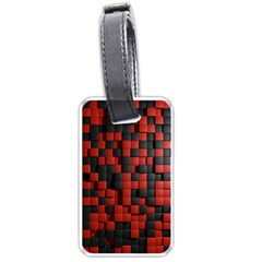 Black Red Tiles Checkerboard Luggage Tags (one Side)  by BangZart