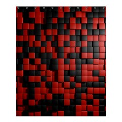 Black Red Tiles Checkerboard Shower Curtain 60  X 72  (medium)  by BangZart