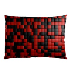 Black Red Tiles Checkerboard Pillow Case (two Sides) by BangZart