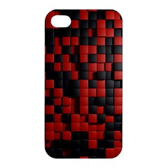 Black Red Tiles Checkerboard Apple Iphone 4/4s Hardshell Case by BangZart