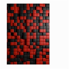 Black Red Tiles Checkerboard Large Garden Flag (two Sides) by BangZart