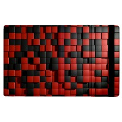 Black Red Tiles Checkerboard Apple Ipad 2 Flip Case by BangZart