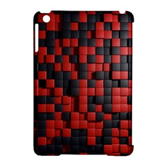 Black Red Tiles Checkerboard Apple Ipad Mini Hardshell Case (compatible With Smart Cover) by BangZart