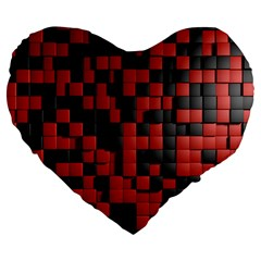 Black Red Tiles Checkerboard Large 19  Premium Heart Shape Cushions by BangZart