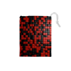 Black Red Tiles Checkerboard Drawstring Pouches (small)  by BangZart